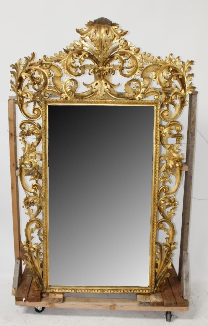 Italian Florentine Rococo gold leaf mirror