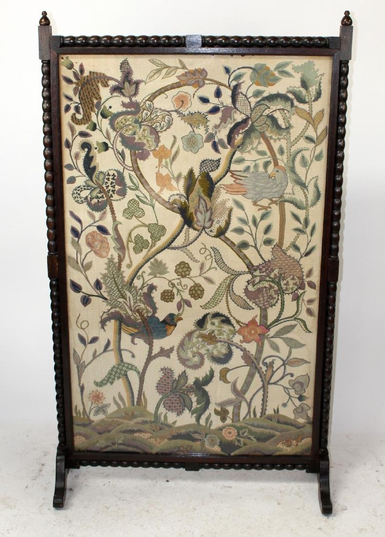 "19th c English crewel screen ""Tree of Life"""