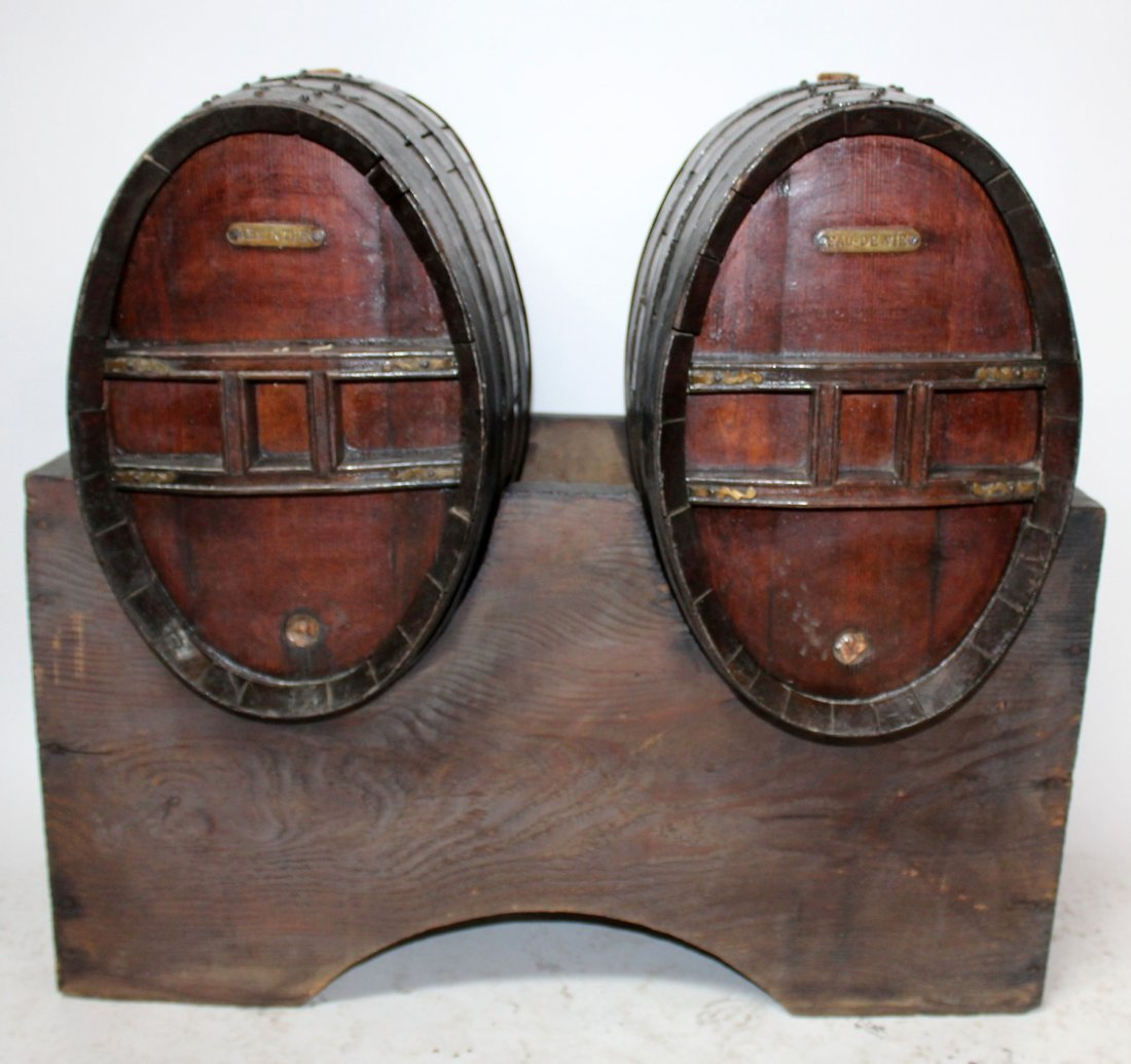 French cognac barrels on stand