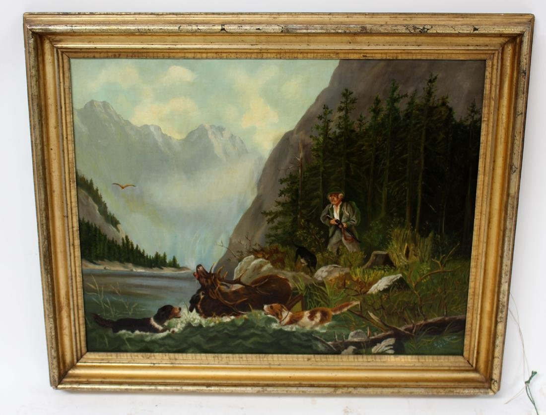 Oil on canvas hunt scene signed E.A Munn