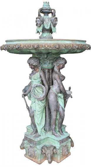 Bronze 4 Rivers Figural Fountain