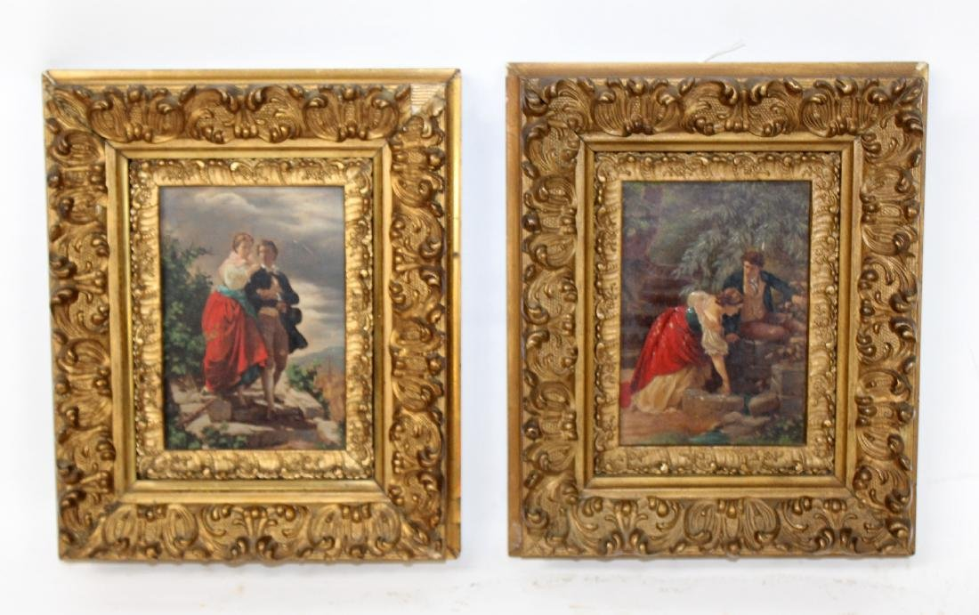 2 Italian paintings depicting couple in gilt frames