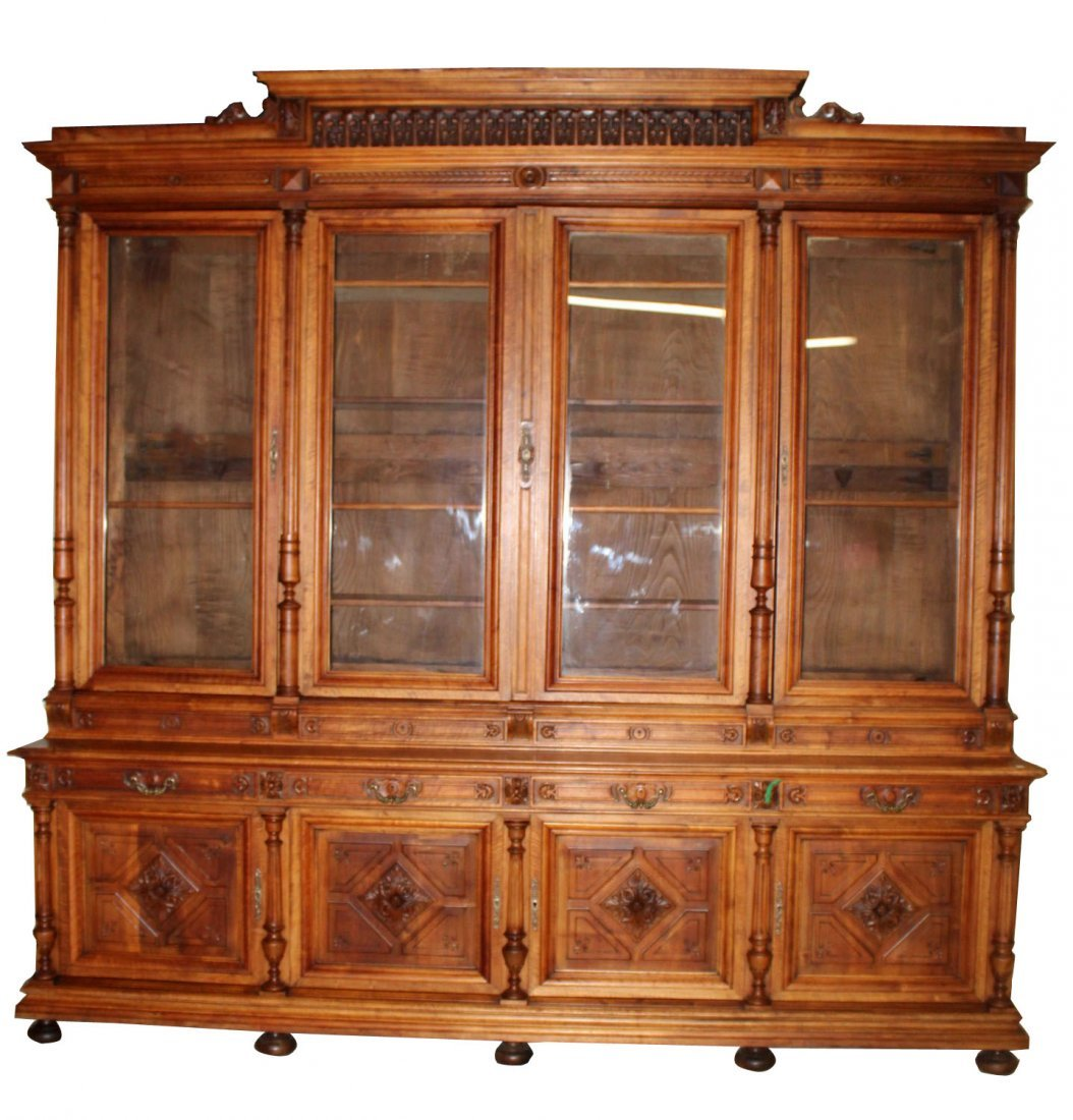 Grand scale French Renaissance bookcase in walnut