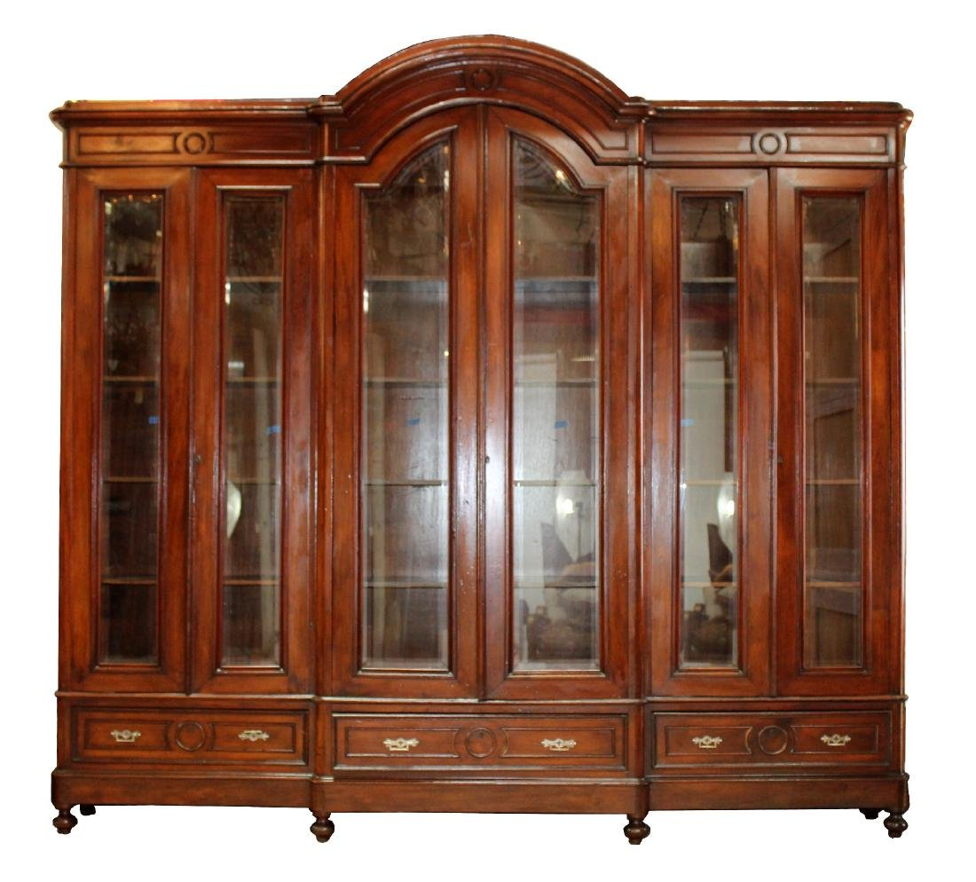 French arch top 6 door bookcase in mahogany