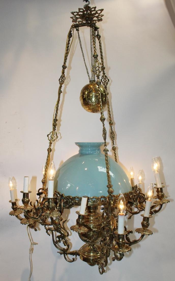 Large Victorian polished brass chandelier