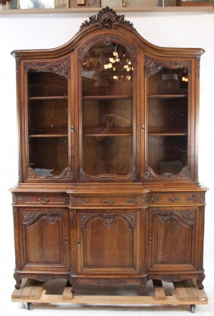 French Louis XV style cabinet in carved walnut