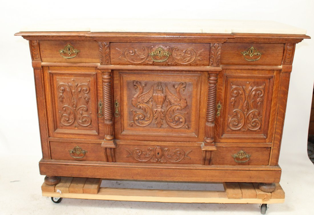 Antique French carved sideboard with marble top