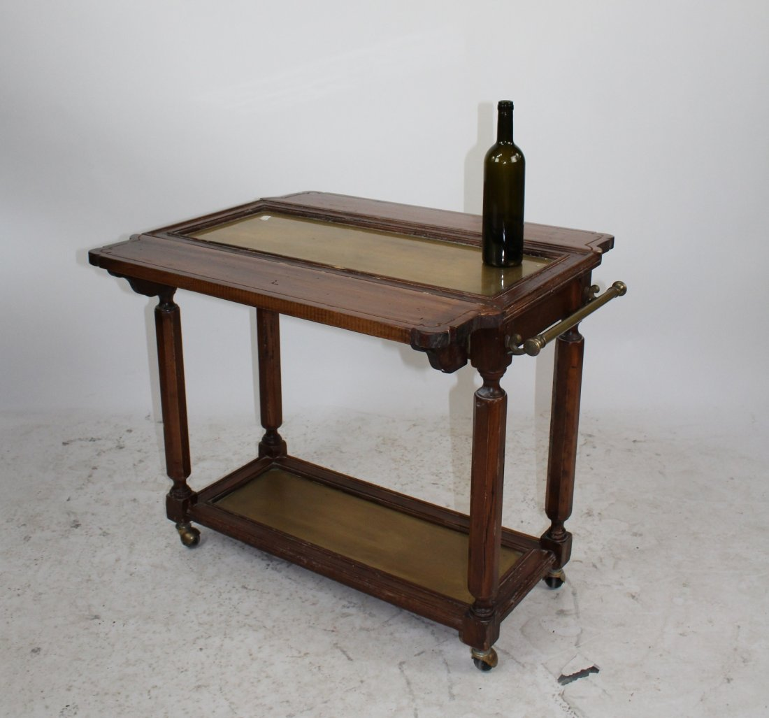French pine and brass tiered dessert cart