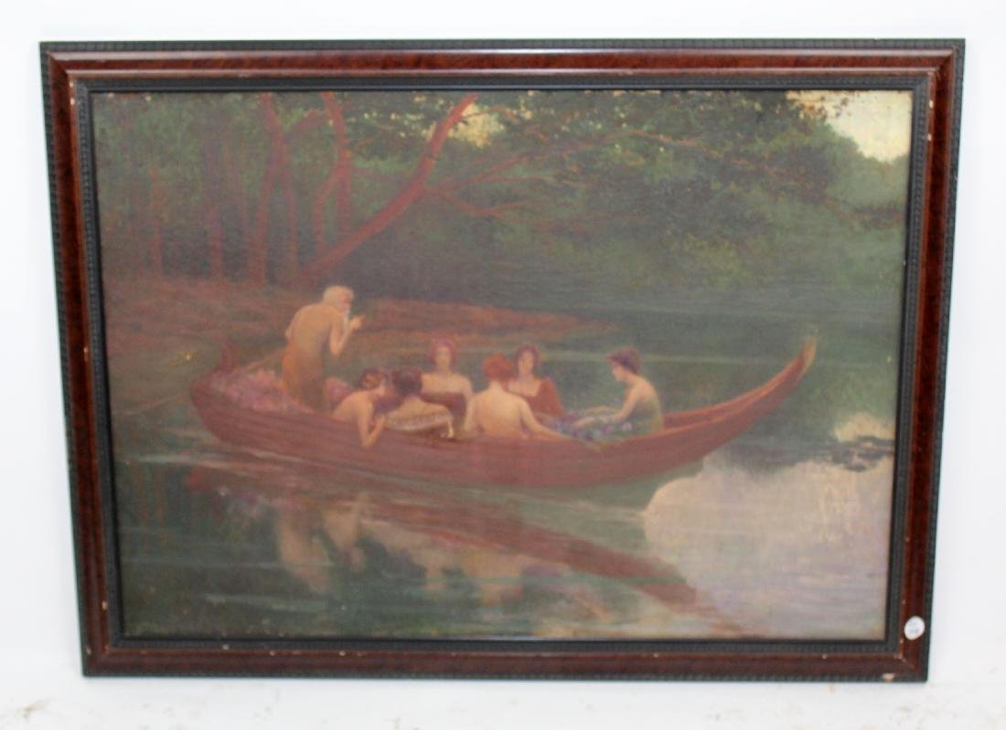 Oil on canvas depicting group in boat