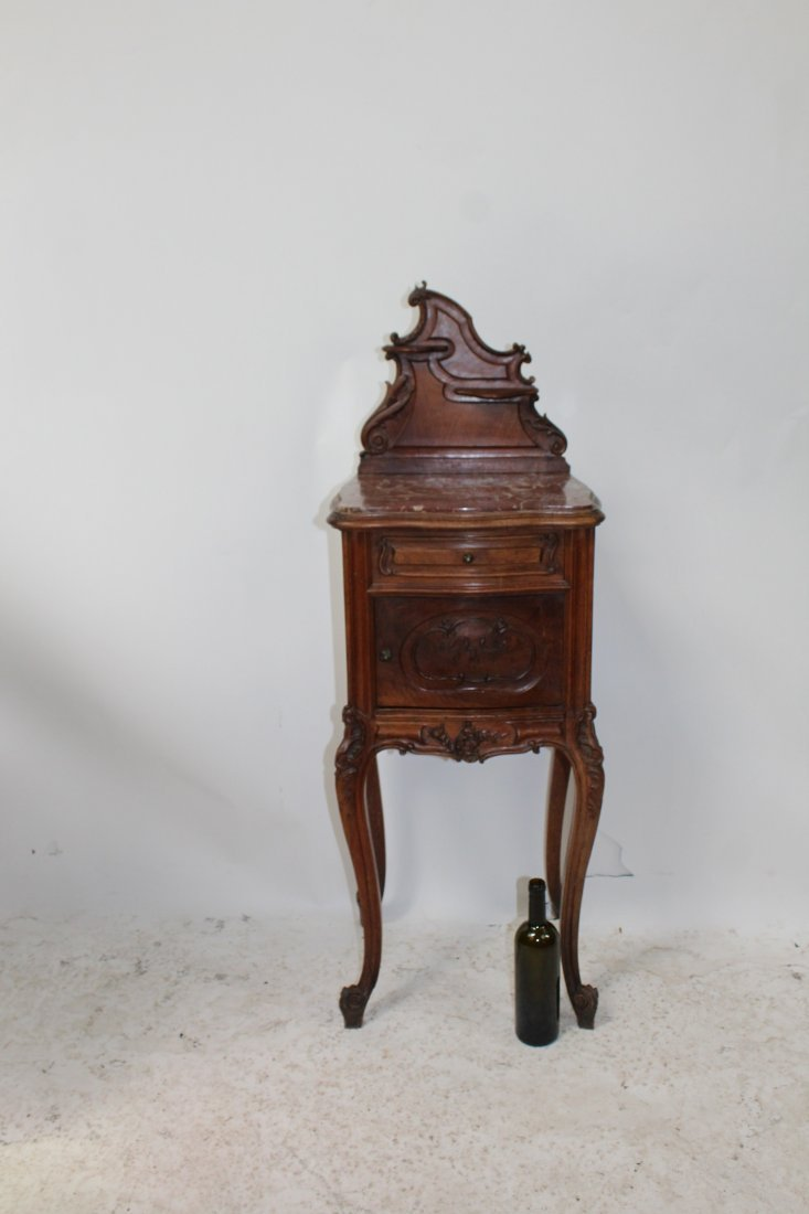 French Louis XV style carved walnut chevet