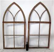 Pair of French Gothic style arch top iron window frames