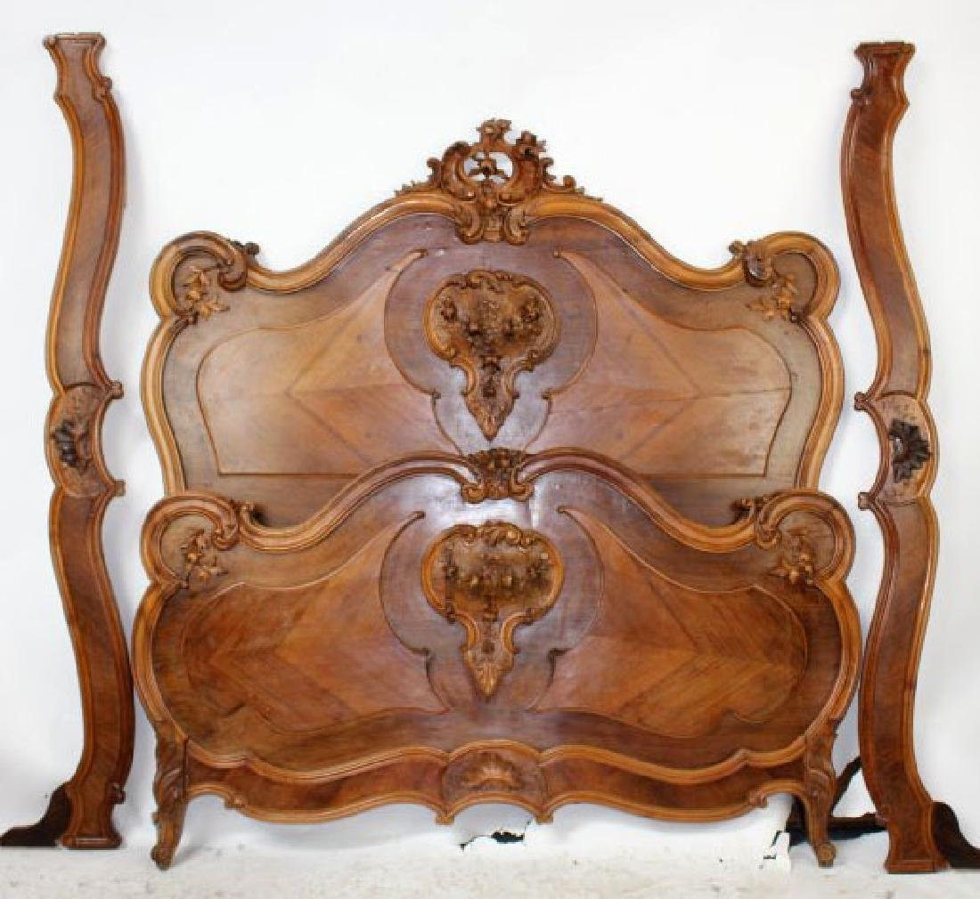 French Louis XV style carved walnut bed