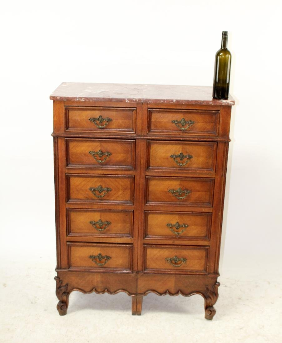 French Louis XV style 10 drawer chest in walnut