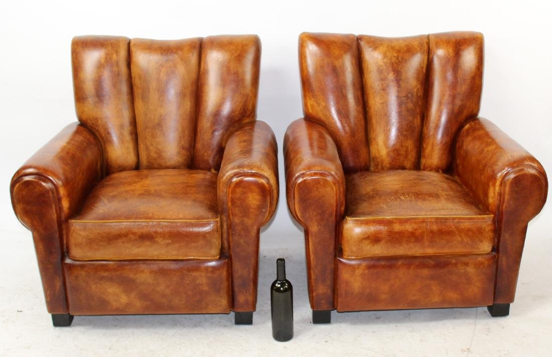 Pair of English leather club chairs