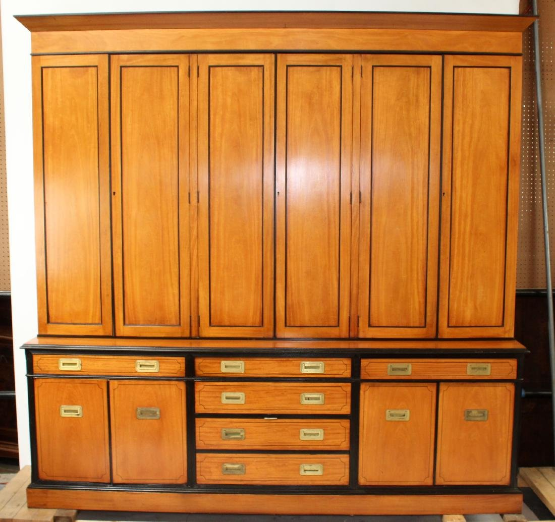Campaign style satinwood bookcase