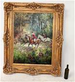 English hunt scene painting oil on canvas