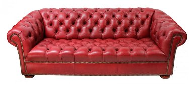 Terrific Studded Red Leather Chesterfield Sofa Bralicious Painted Fabric Chair Ideas Braliciousco