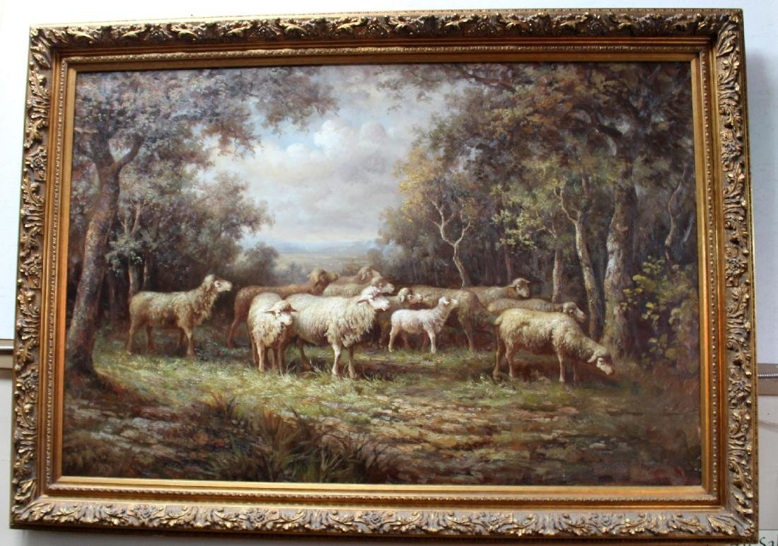 Grand scale oil on canvas pastoral with sheep