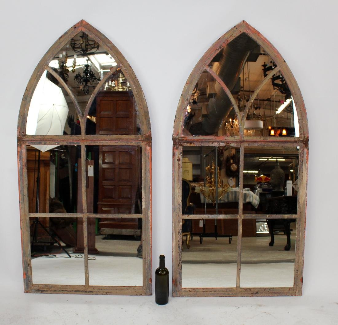 Pair of Antique French Gothic window frames with mirror