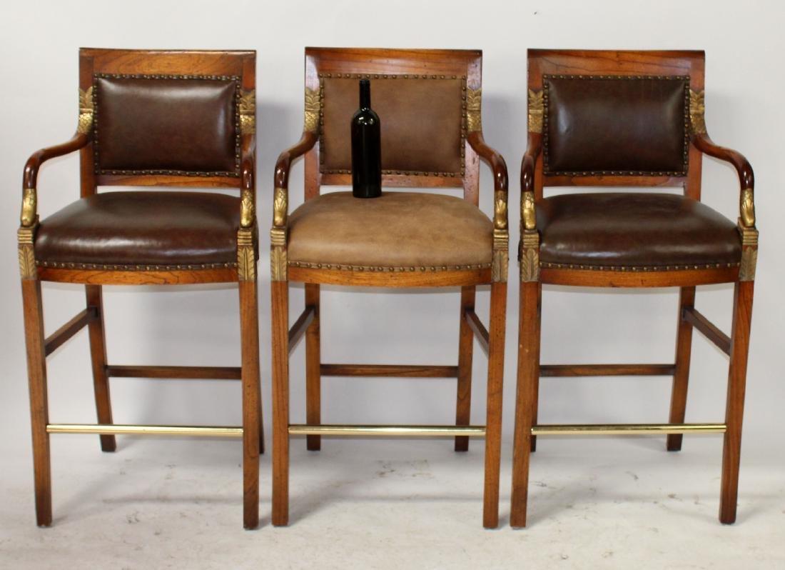 Set of 3 Maitland Smith bar stools