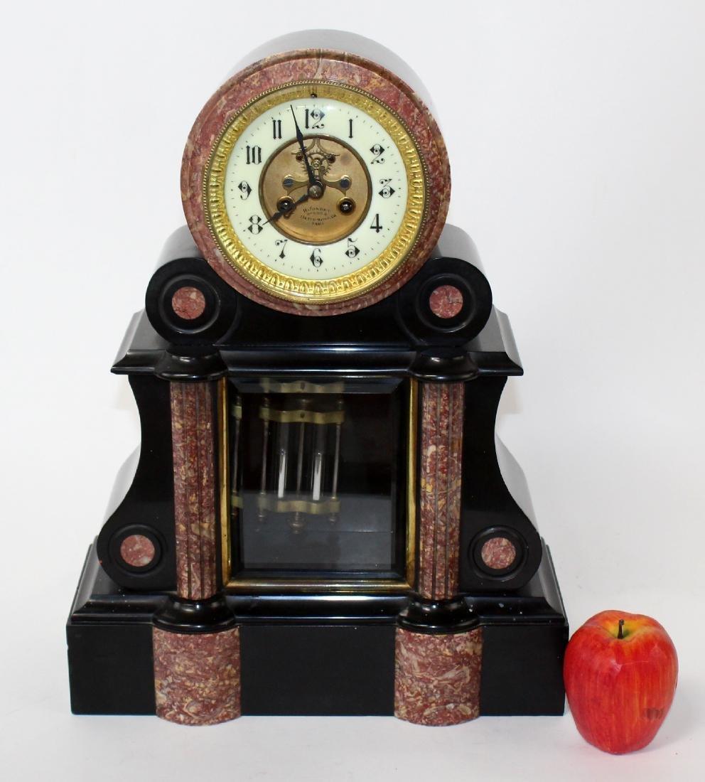 French Napoleon III slate & marble mantel clock