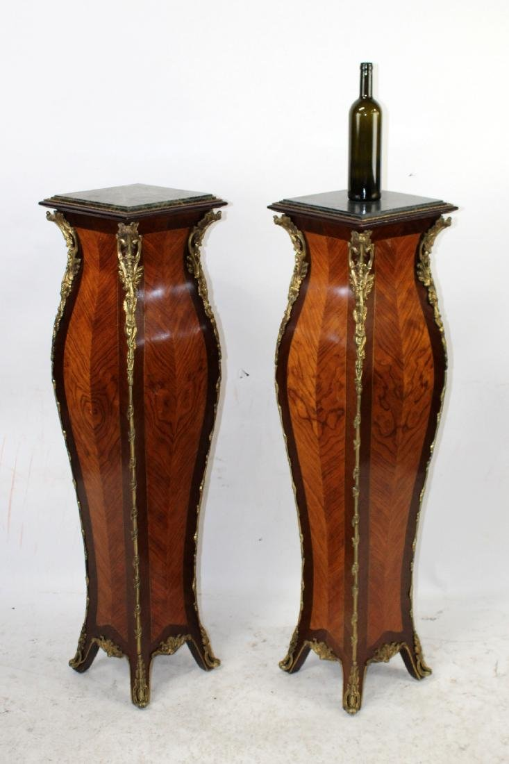Pair of French Louis XVI style marquetry pedestals