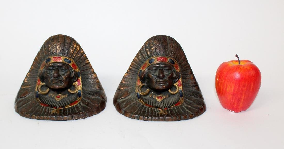 Pair of cast iron indian chief bookends