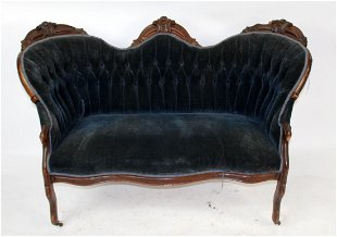 American Victorian Settee With Mahogany Frame