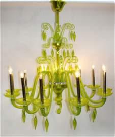 Grand scale 12 arm Venetian style glass chandelier