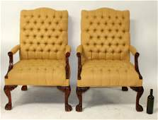 Pair of tufted Chippendale style armchairs