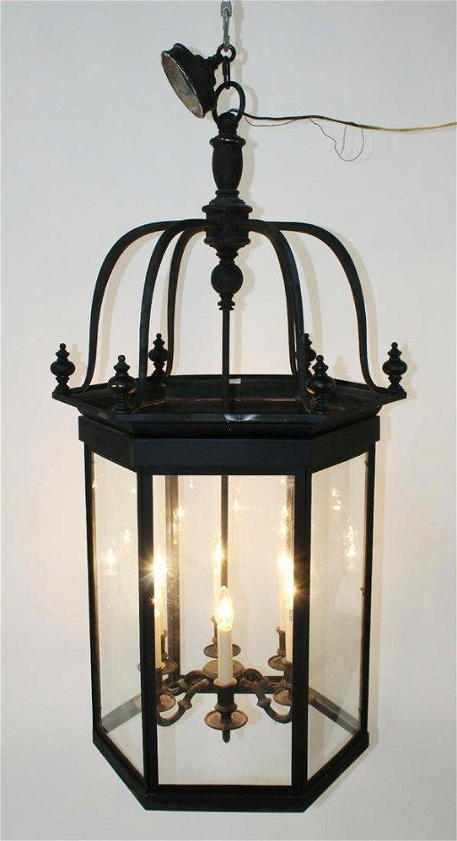 Large Black Iron Lantern Chandelier