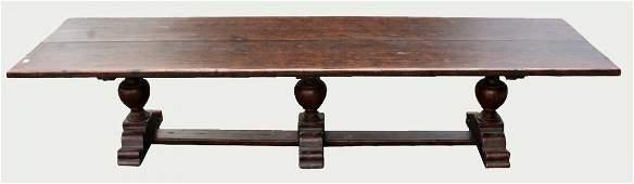Italian triple pedestal monastery table