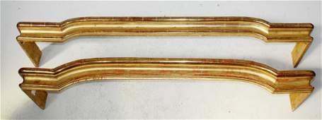 2 French Louis XIV gold leaf window valances