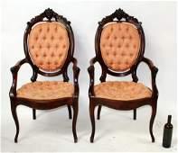 Pair American Victorian cvd mahogany chairs