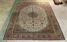 "9'9"" x 12'7"" Persian Kashan wool rug."