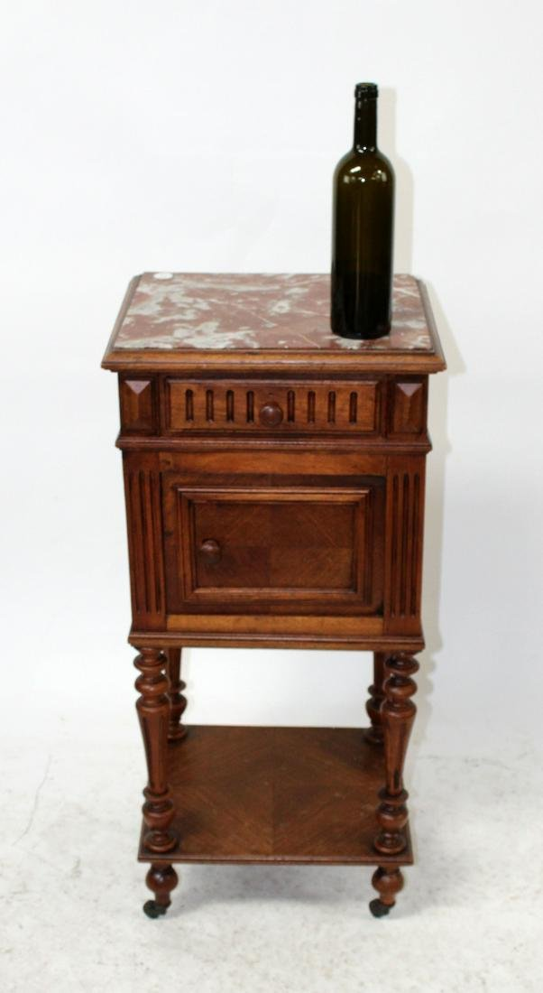 French marble top chevet in walnut