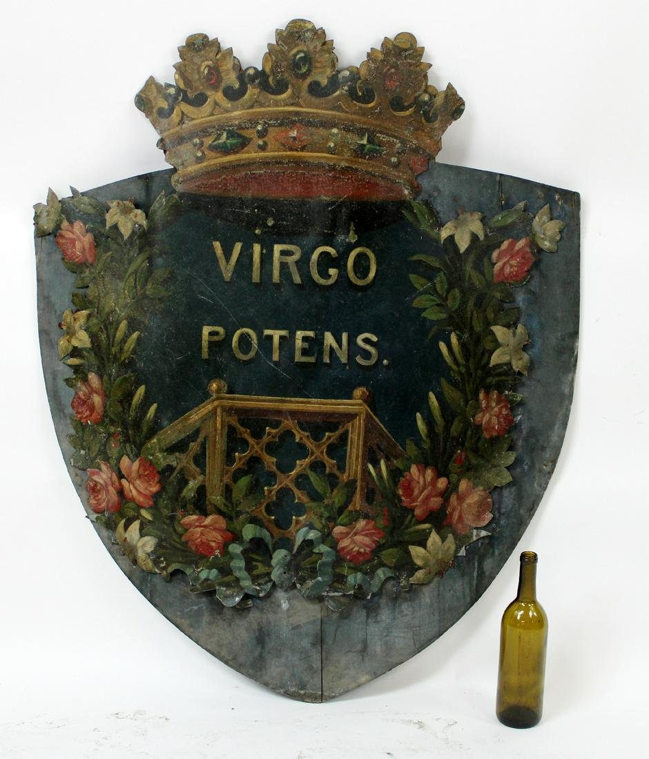 Antique French painted tin crest