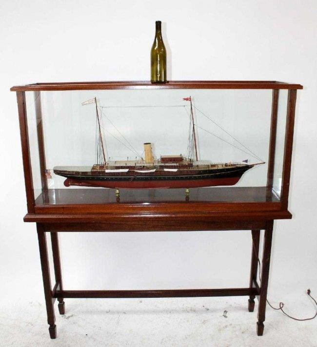 "American steam yacht ship model ""Corsair"" in floor"