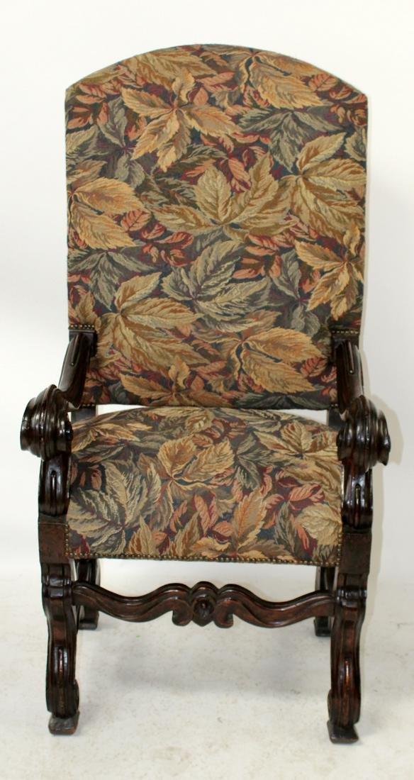 Oversize French Louis XIV walnut armchair