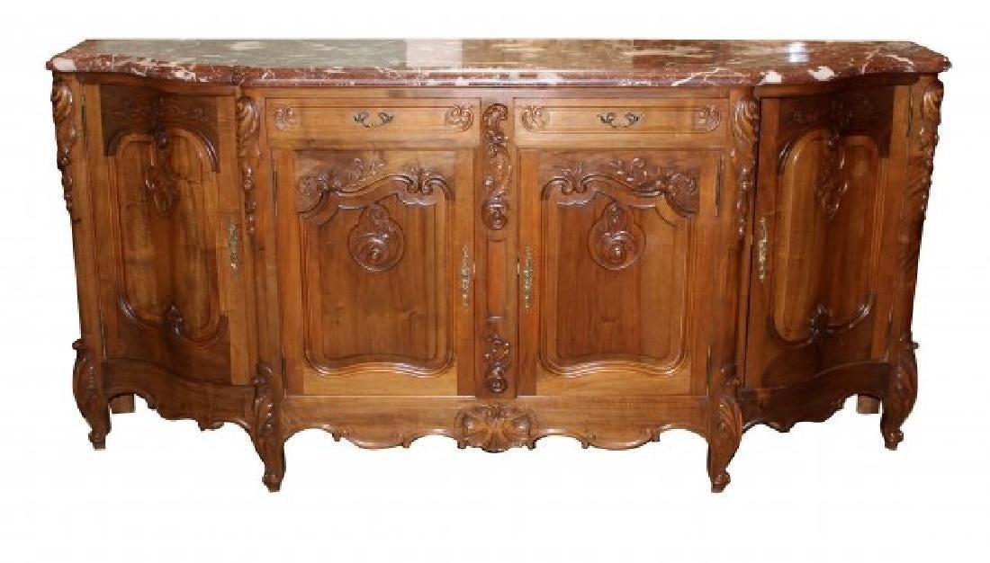 French Louis XV style walnut sideboard