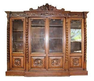 Monumental Louis XIII style oak bookcase