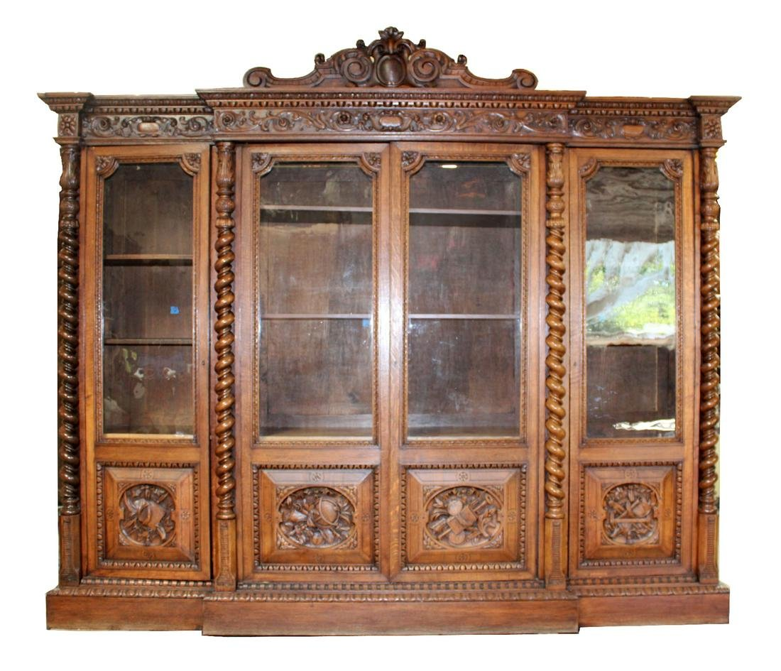 Monumental Louis XIII style oak bookcase