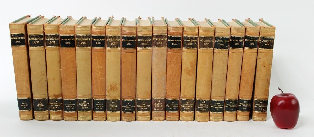 Set of 17 leather bound Swedish books