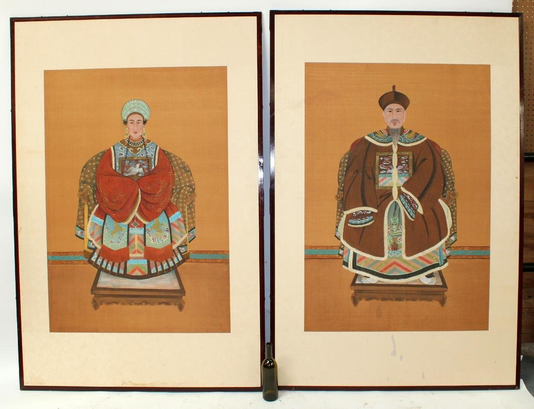 Pair of Chinese ancestoral portrait paintings