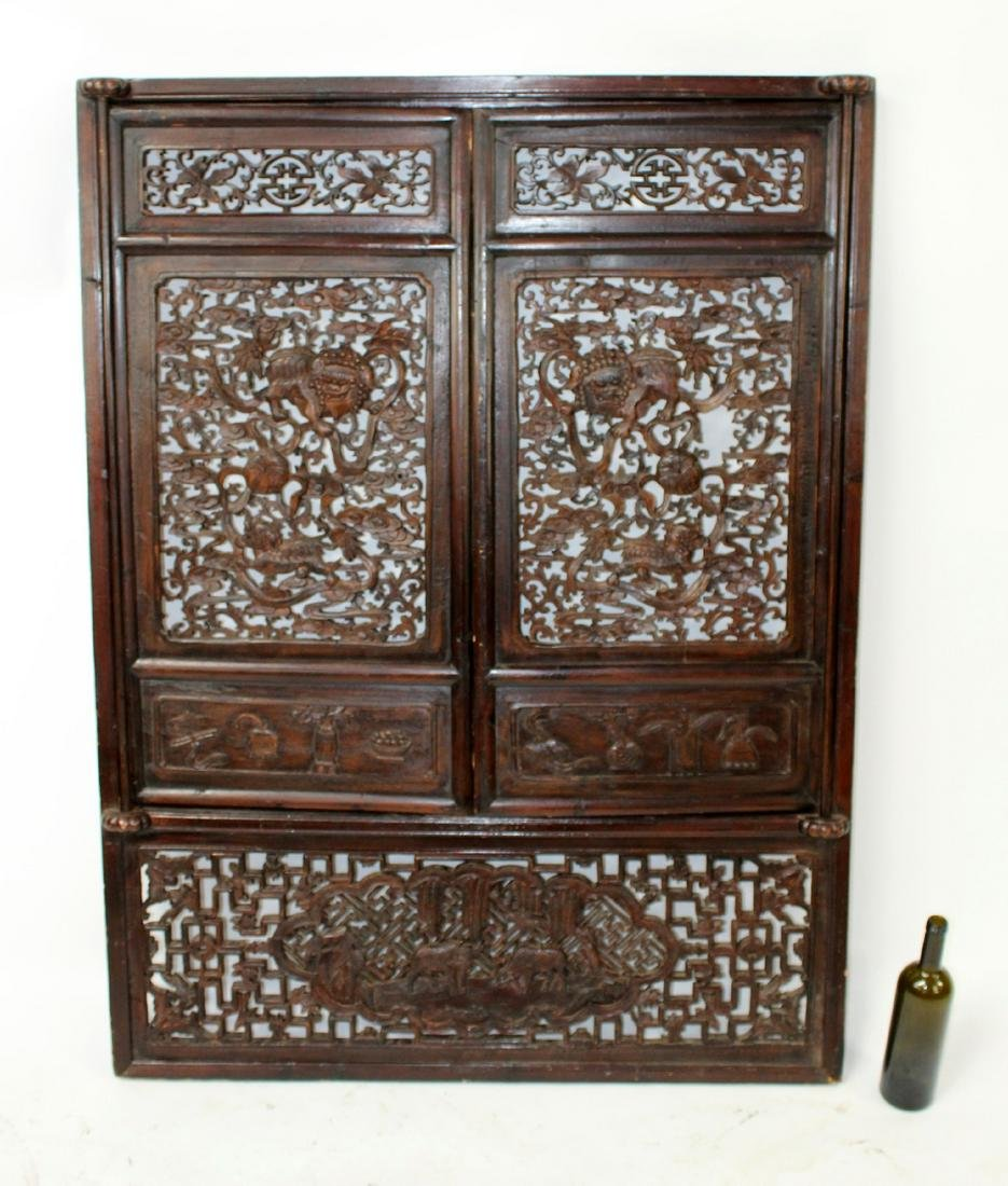 Chinese pierce carved wooden wall panel