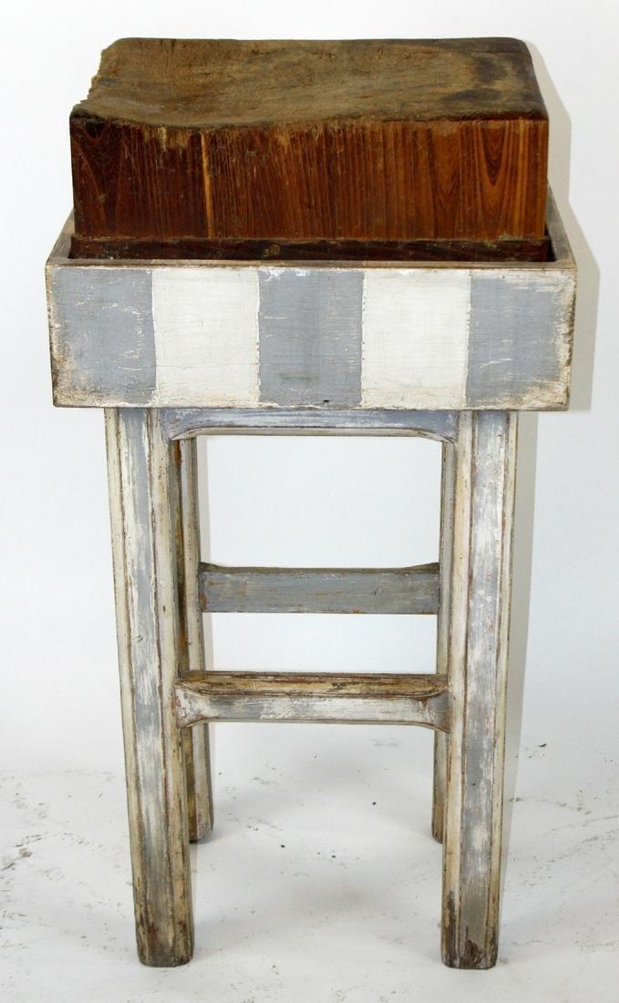 Antique end cut butcher block