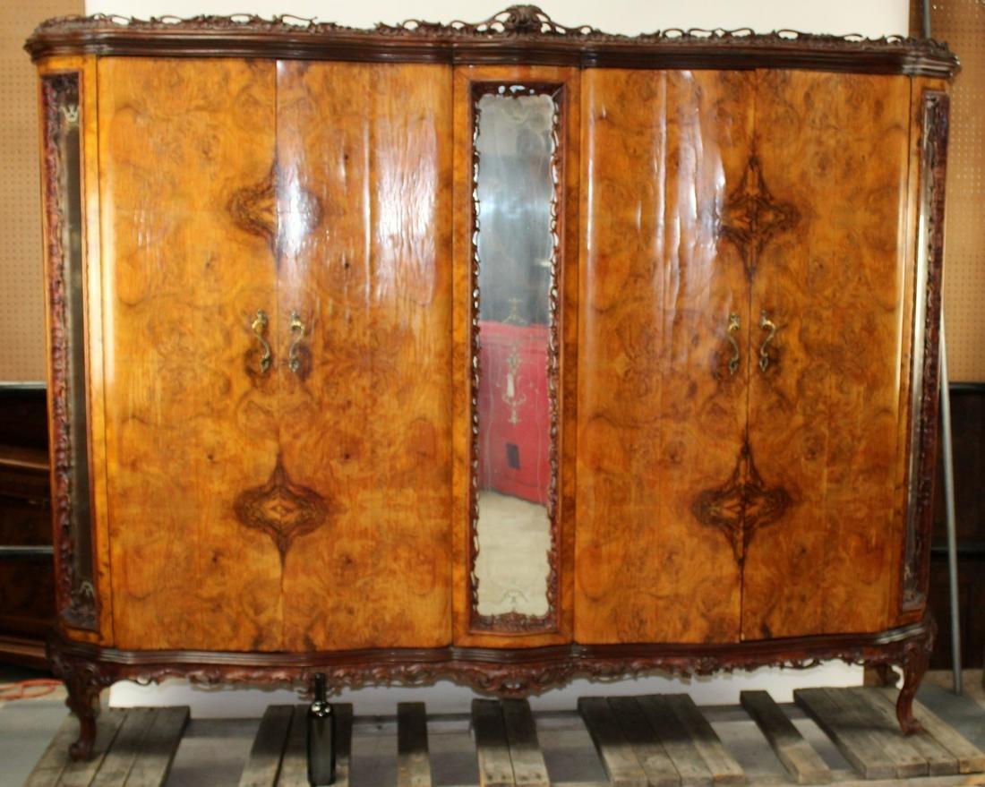 Italian Chippendale armoire in burl walnut
