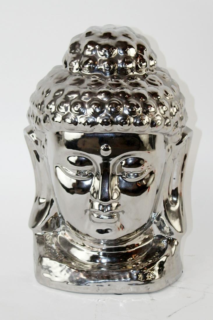 Cast silver finish buddha head sculpture