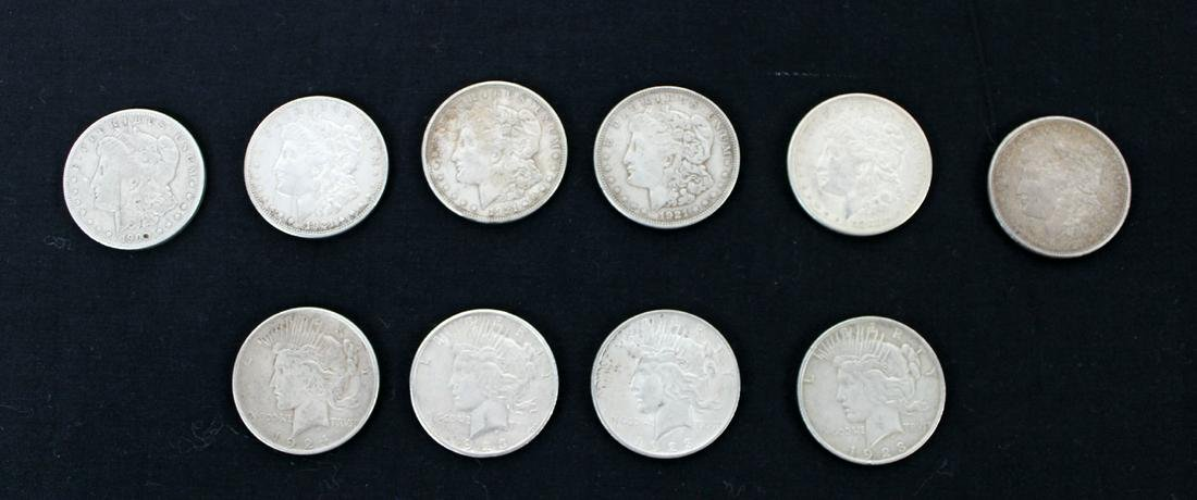 Lot of 10 circulated silver dollars