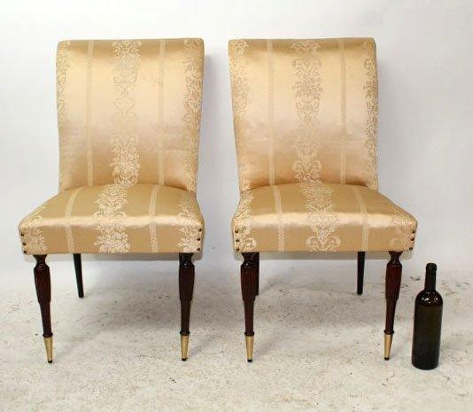 Italian Art Deco silk upholstered slipper chairs